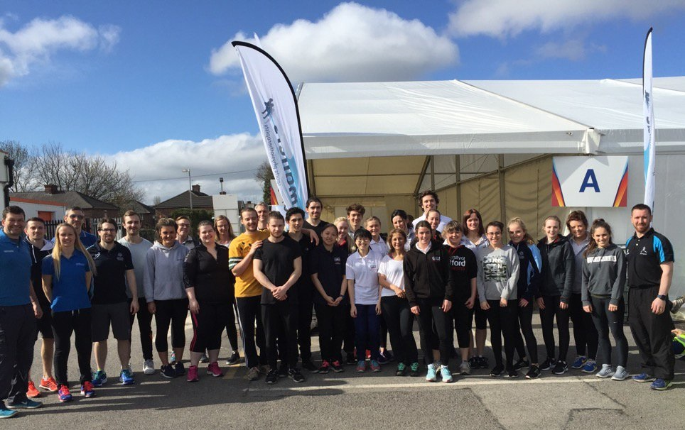 Physiotherapy students gaining massage experience at marathon