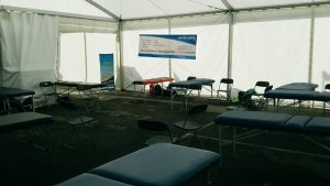 Sports Massage tent at ASICS Manchester Marathon 2017