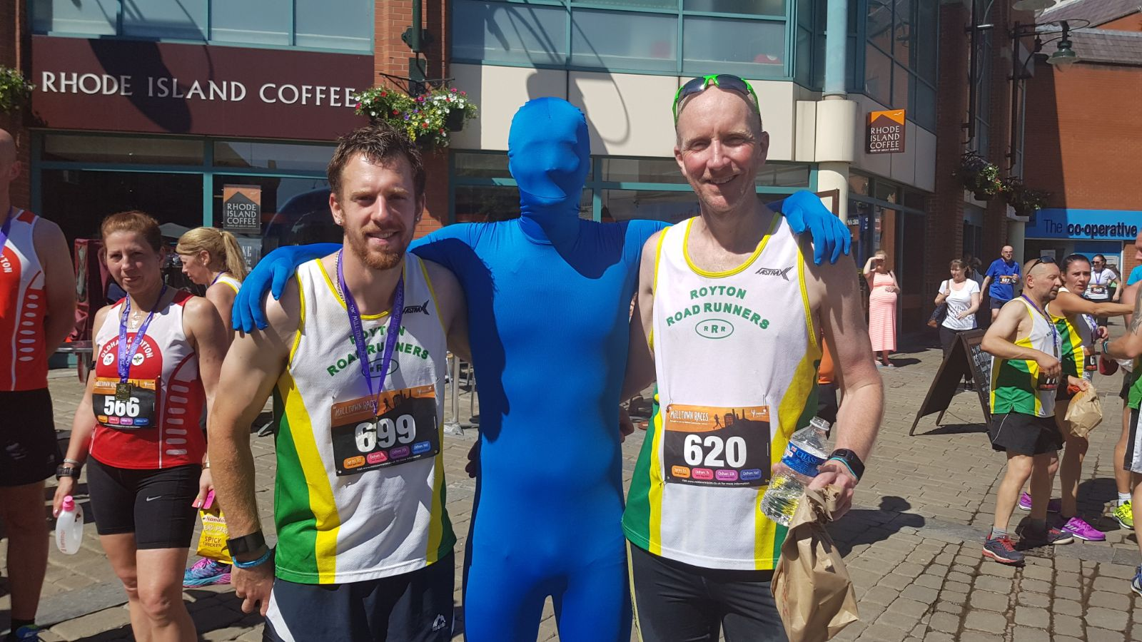 Blue Running Man with Royton Road Runners