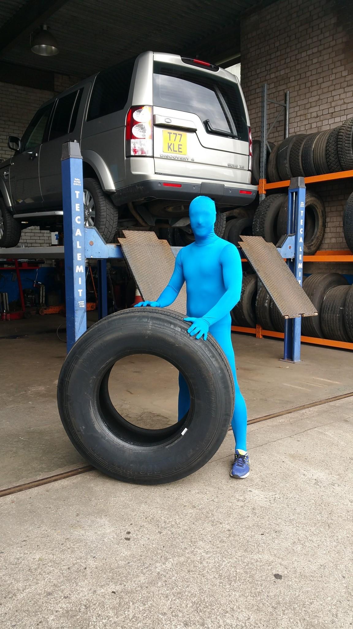 Blue Running Man at AC Tyres Oldham