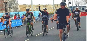 Team Ash finishing Manchester to Blackpool Bike Ride 2017