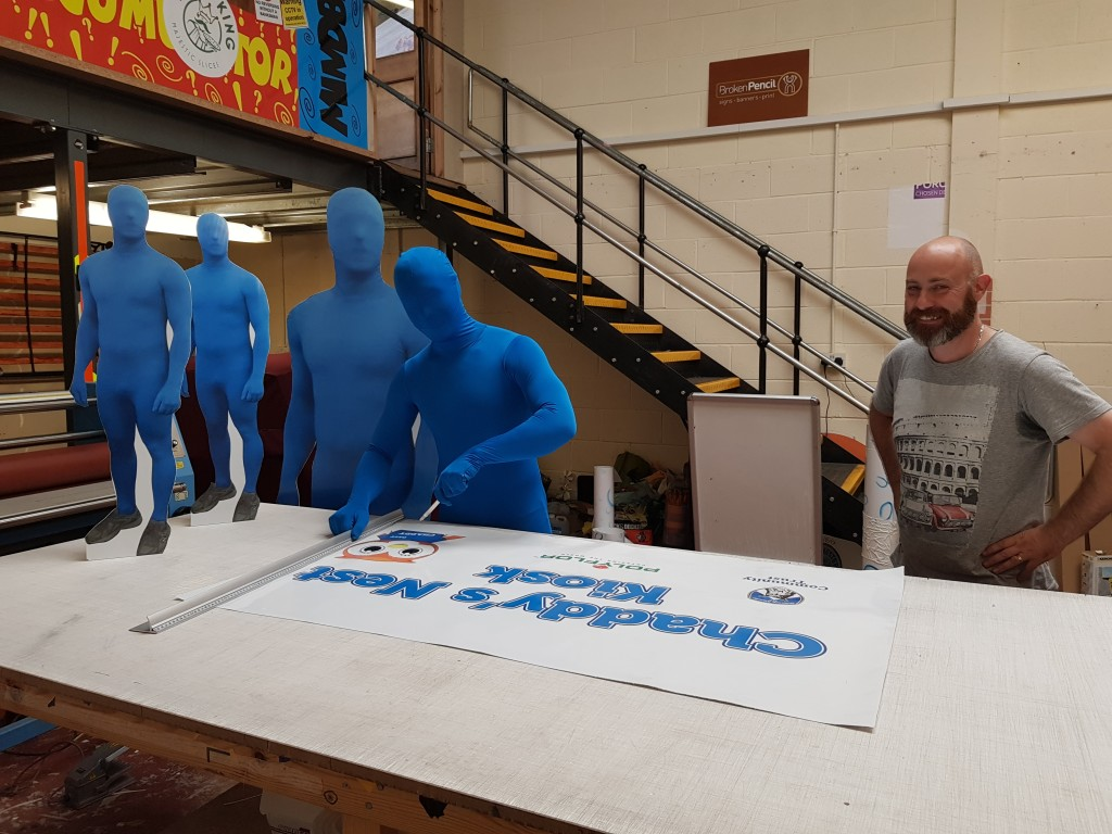 Blue Running Man with Chris Stansfield at Broken Pencil Oldham