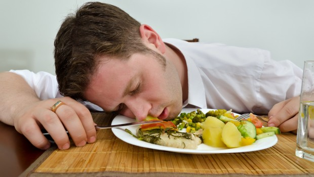 Falling asleep during healthy meal