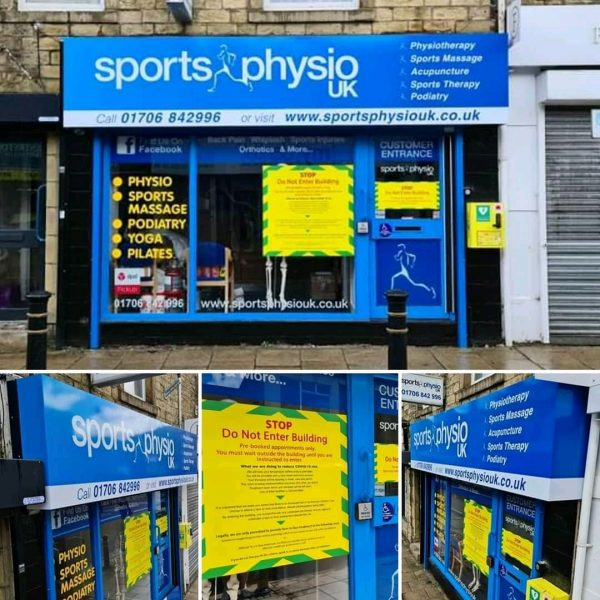 Sports Physio UK Oldham Front Outside Entrance With Patient Covid-19 Notices